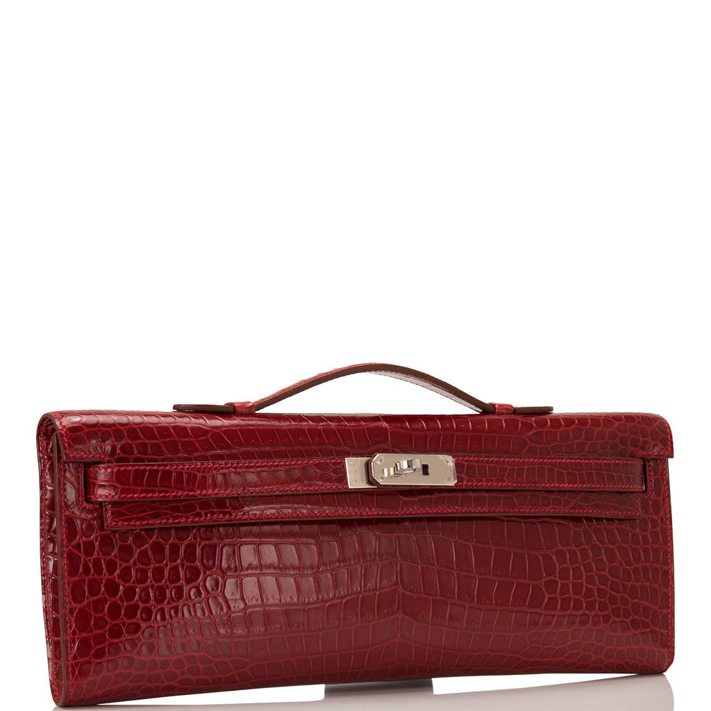 Hermes Rouge Vif Shiny Porosus Crocodile Kelly Cut