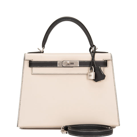 Hermes HSS Bi-Color Craie and Black Epsom Sellier Kelly 28cm Brushed Palladium Hardware