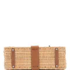 Hermes Wicker and Barenia Leather Picnic Bag Kelly 35cm Palladium Hardware