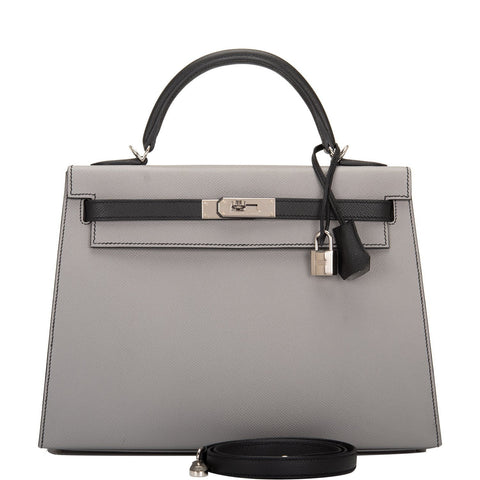 Hermes HSS Bi-Color Gris Mouette and Black Epsom Sellier Kelly 32cm Palladium Hardware