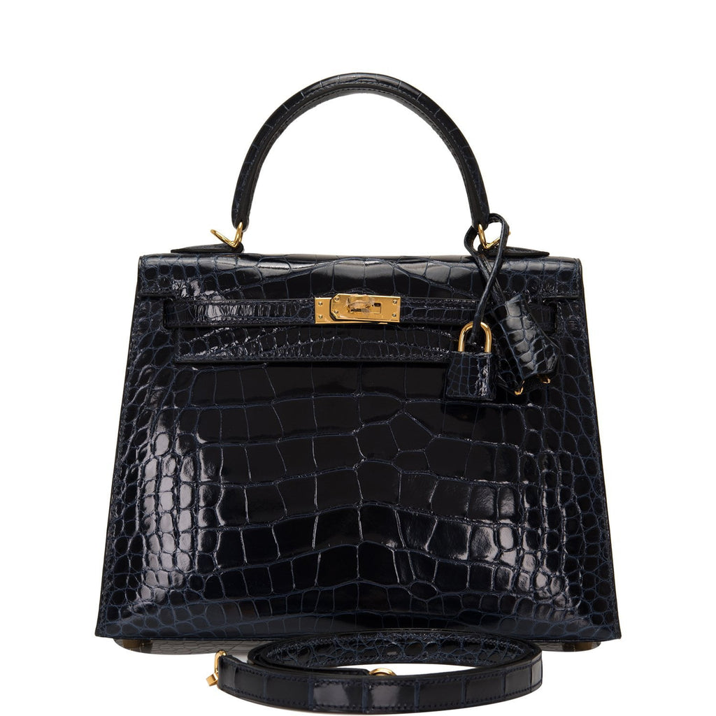 Hermes Blue Marine Shiny Alligator Sellier Kelly 25cm Gold Hardware