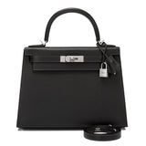 Hermes HSS Black and Etain Epsom Sellier Kelly 28cm Brushed Palladium Hardware