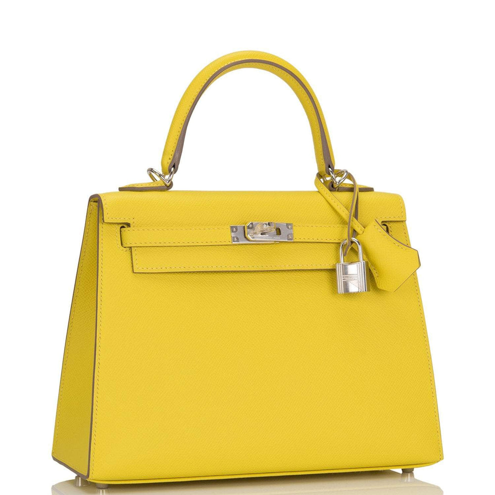 Hermes Lime Epsom Sellier Kelly 28cm Palladium Hardware