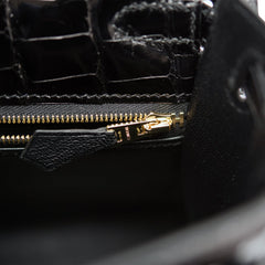 Hermes Black Shiny Alligator Sellier Kelly 25cm Gold Hardware