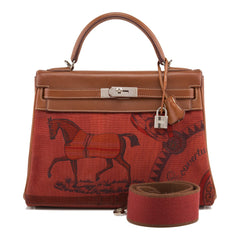 "Hermes ""Couvertures et Tenues de Jour"" Barenia and Toile Retourne Kelly 32cm (Preloved - Excellent)"