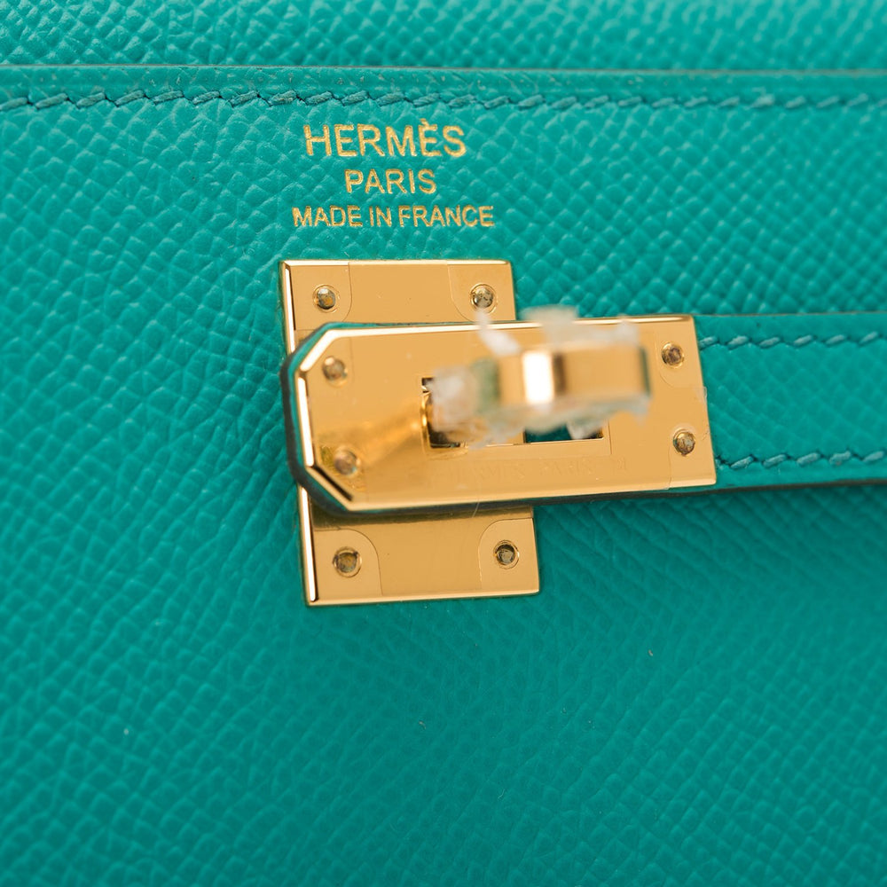 Hermes Vert Verone Epsom Sellier Kelly 25cm Gold Hardware