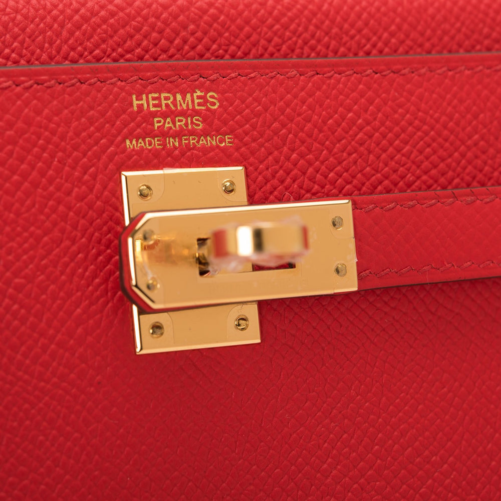 Hermes Rouge De Coeur Epsom Sellier Kelly 25cm Gold Hardware
