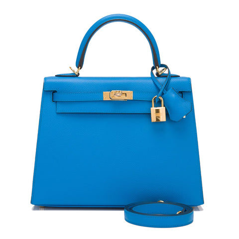 Hermes Blue Zanzibar Epsom Sellier Kelly 25cm Gold Hardware