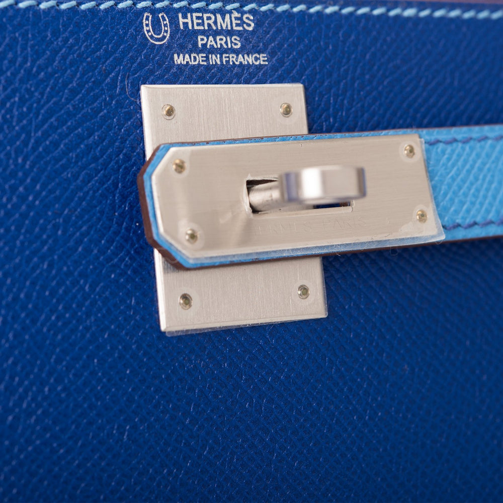 Hermes HSS Bi-Color Blue Electric and Blue Paradise Epsom Sellier Kelly 28cm Brushed Palladium Hardware