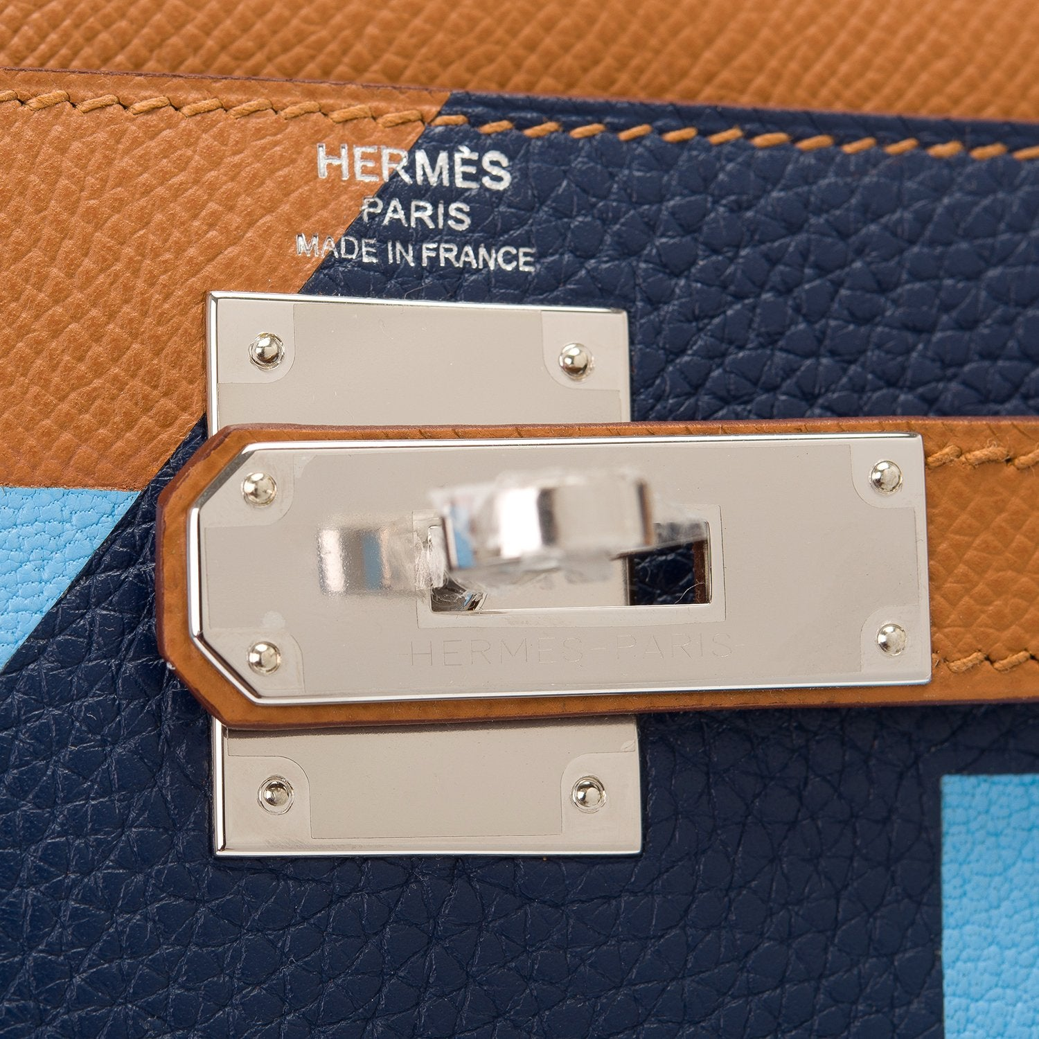 "Hermes ""Lettre S"" Gold, Celeste, and Blue Sapphire Sellier Kelly 28cm Palladium Hardware"