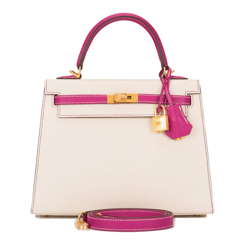 d3f1dbb4ad2c Hermes HSS Bi-Color Craie and Rose Pourpre Epsom Sellier Kelly 25cm Brushed  Gold Hardware