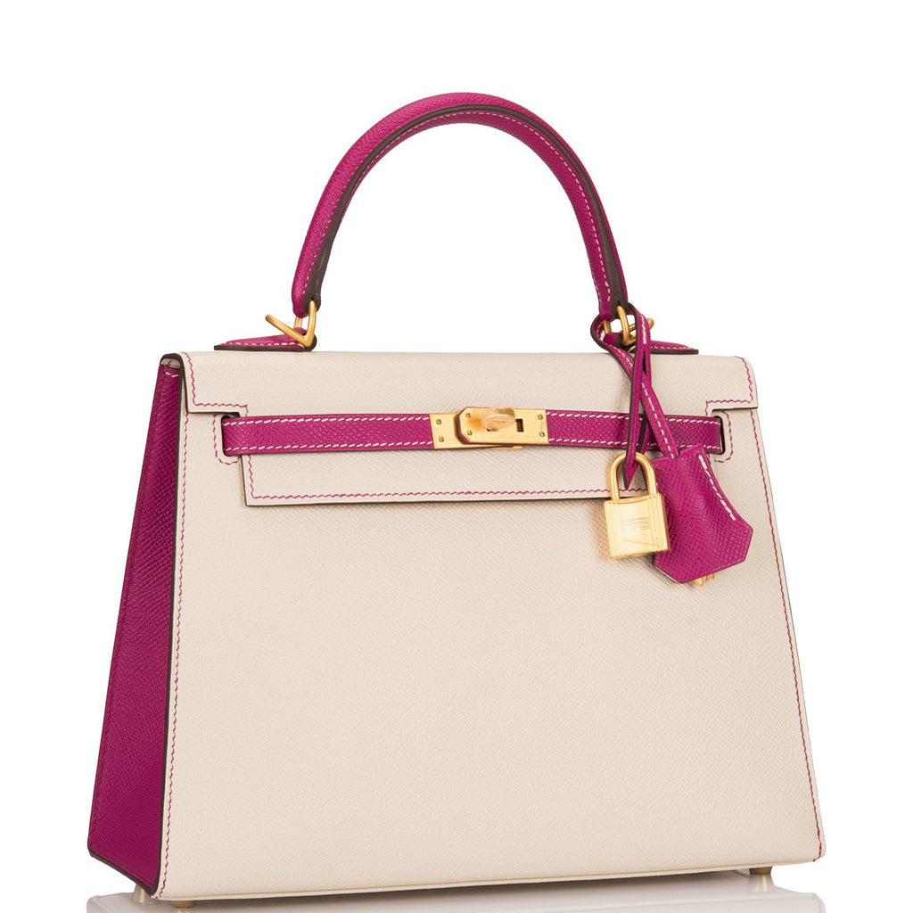 Hermes HSS Bi-Color Craie and Rose Pourpre Epsom Sellier Kelly 25cm Brushed Gold Hardware