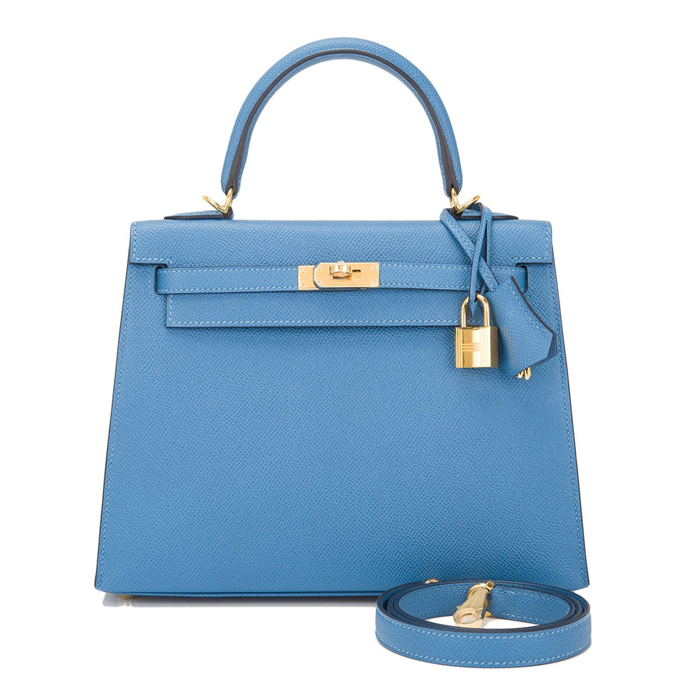 Hermes Blue Azur Epsom Sellier Kelly 25cm Gold Hardware
