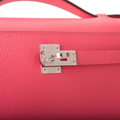 Hermes Rose Azalee Epsom Mini Kelly Pochette Palladium Hardware