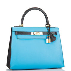 Hermes HSS Bi-Color Blue Aztec and Black Chevre Sellier Kelly 28cm Gold Hardware