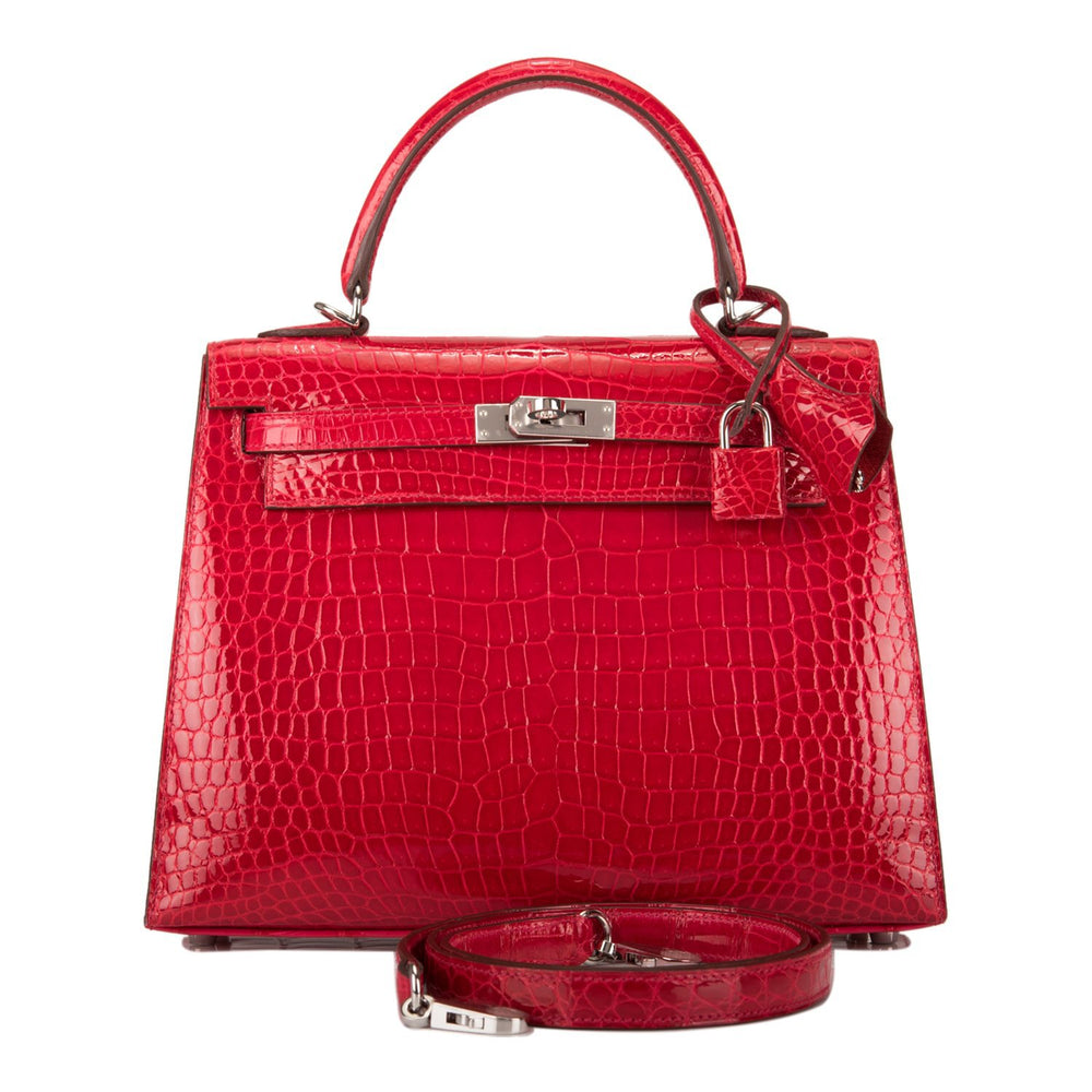 Hermes Braise Shiny Porosus Crocodile Kelly 25cm Palladium Hardware