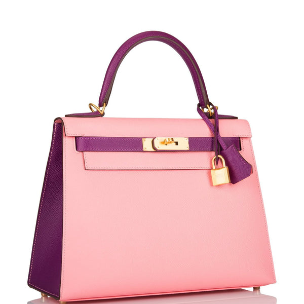 Hermes HSS Bi-Color Anemone and Rose Confetti Epsom Sellier Kelly 28cm Brushed Gold Hardware