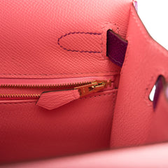 Hermes HSS Bi-Color Rose Confetti and Anemone Epsom Sellier Kelly 28cm Brushed Gold Hardware