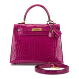 Hermes Rose Scheherazade Shiny Niloticus Crocodile Sellier Kelly 25cm Gold Hardware