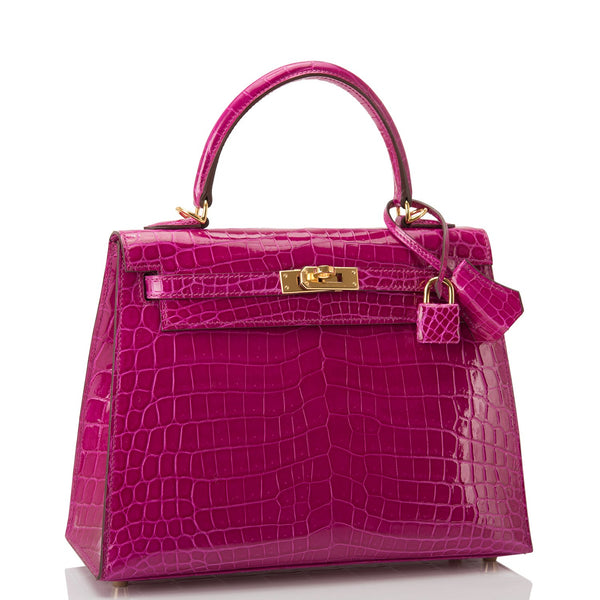 Hermes Rose Scheherazade Shiny Niloticus Crocodile Kelly 25cm Gold Hardware