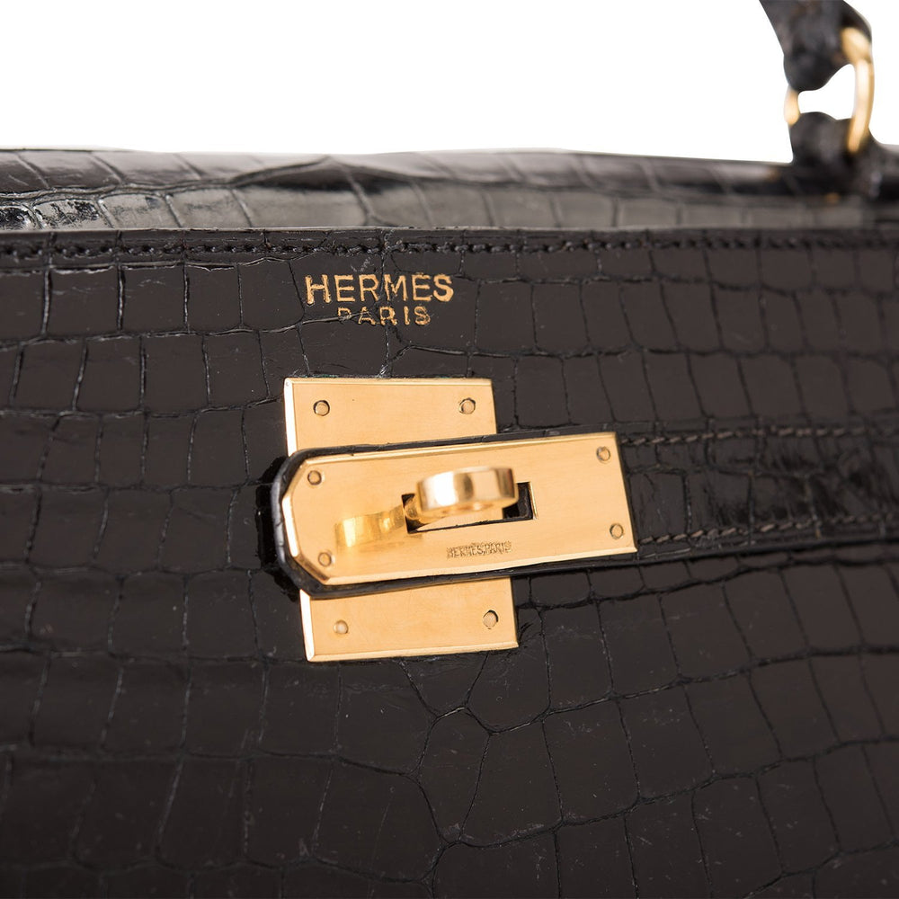 Hermes Vintage Black Shiny Crocodile Sellier Kelly 35cm Gold Hardware (Preloved - Excellent)