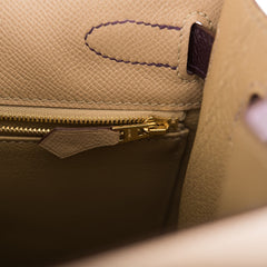Hermes HSS Bi-Color Trench and Raisin Epsom Sellier Kelly 32cm Brushed Gold Hardware (Preloved - Mint)