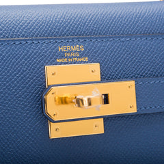 Hermes Blue Brighton Epsom Sellier Kelly 28cm Gold Hardware