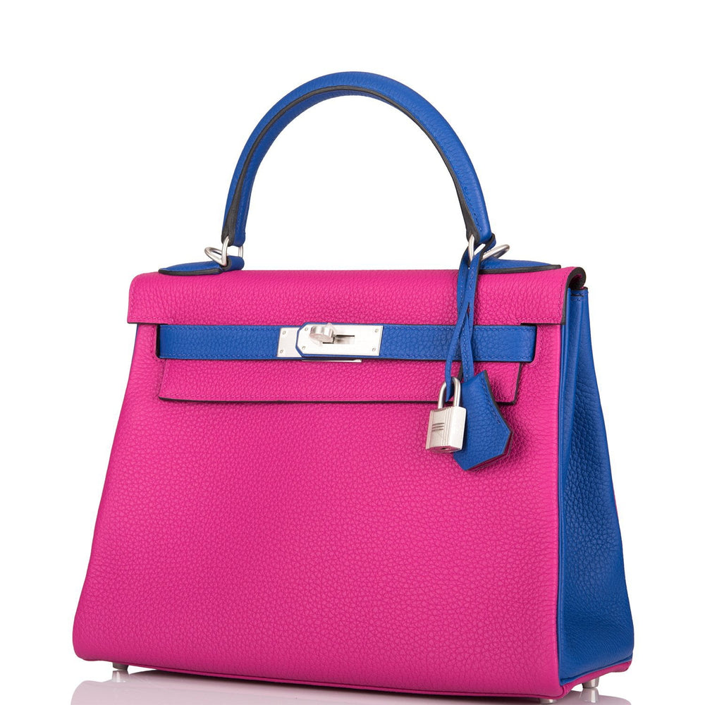 Hermes HSS Bi-Color Rose Pourpre and Blue Electric Togo Kelly 28cm Brushed Palladium Hardware