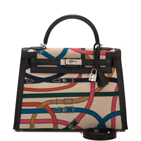 Hermes Limited Edition Cavalcadour Toile De Camp Kelly 32cm Palladium Hardware