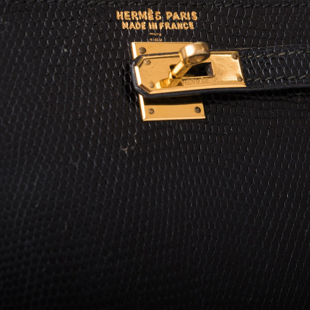 Hermes Rare Vintage Black Varanus Salvator Lizard Micro Kelly 15cm Gold Hardware (Preloved - Excellent)