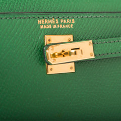 Hermes Rare Vintage Vert Clair Courchevel Micro Kelly 15cm Gold Hardware (Preloved - Excellent)