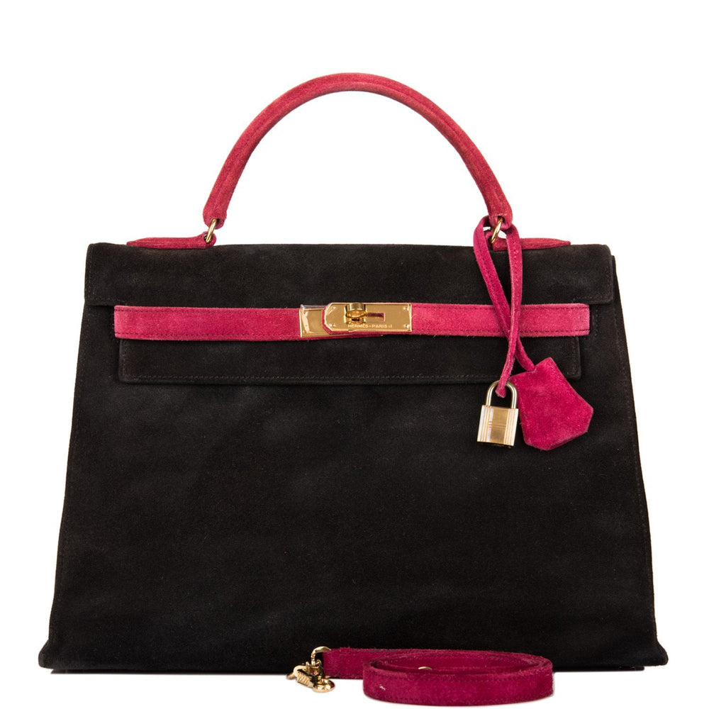 Hermes Black and Framboise Doblis Sellier Kelly 32cm Gold Hardware (Preloved - Excellent)