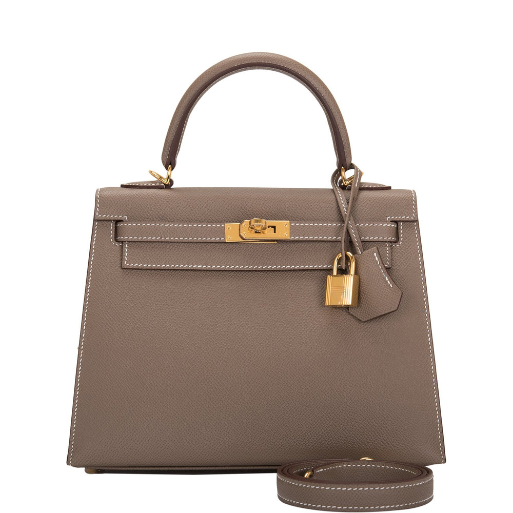 Hermes Etoupe Epsom Sellier Kelly 25cm Gold Hardware