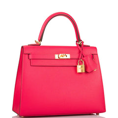 Hermes Rose Extreme Epsom Sellier Kelly 25cm Gold Hardware