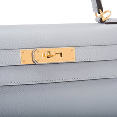 Hermes Blue Glacier Epsom Sellier Kelly 28cm Gold Hardware