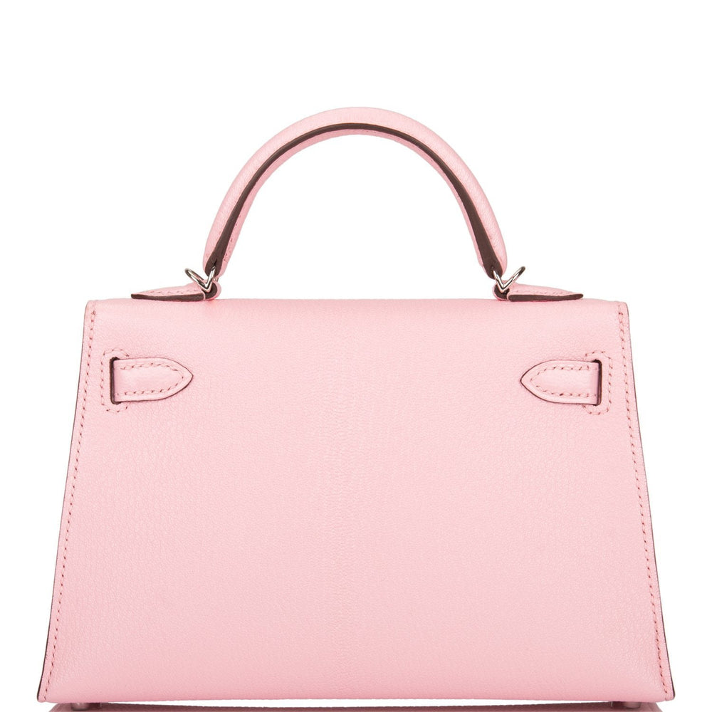 Hermes Rose Sakura Chevre Mysore Kelly 20cm Palladium Hardware