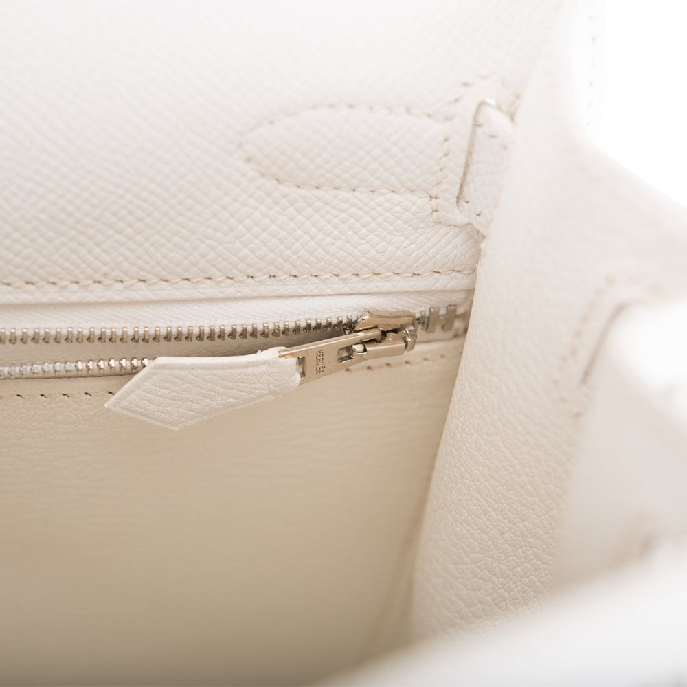 Hermes White Epsom Sellier Kelly 28cm Palladium Hardware (Preloved - Mint)