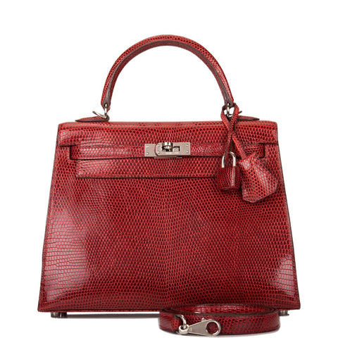 Hermes Rouge H Lizard Sellier Kelly 25cm Palladium Hardware (Preloved - Excellent)