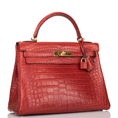 Hermes HSS Bi-color Rouge H and Bordeaux Matte Alligator Retourne Kelly 32cm Gold Hardware (Preloved - Mint)