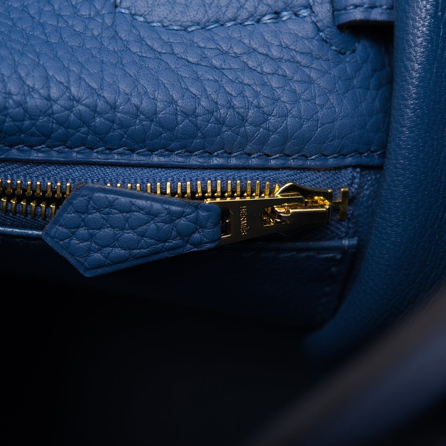 Hermes Blue Brighton Clemence Kelly 32cm Gold Hardware
