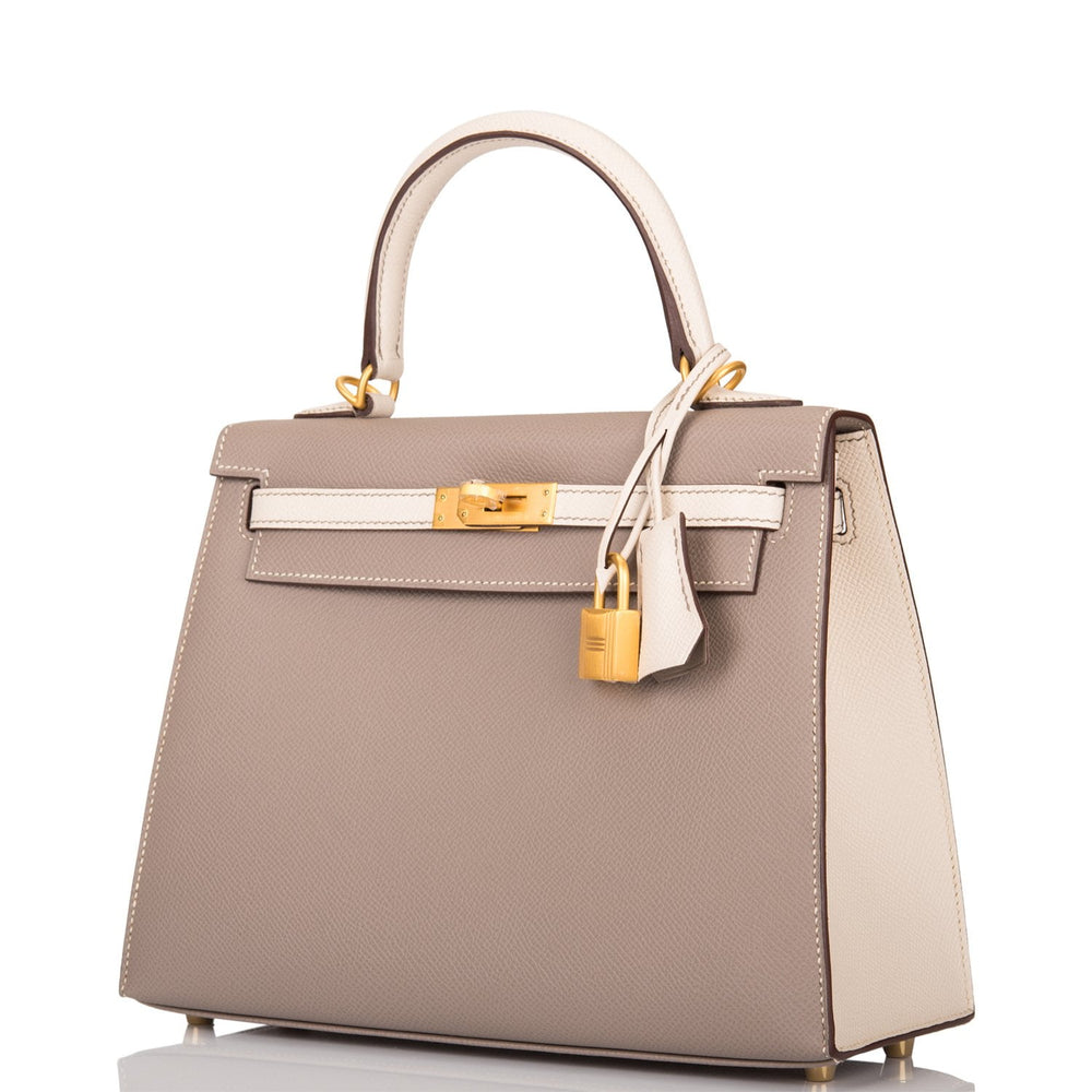 Hermes HSS Bi-Color Gris Asphalte and Craie Epsom Sellier Kelly 25cm Brushed Gold Hardware