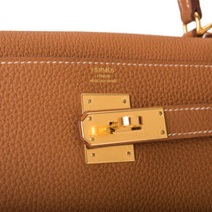 Hermes Gold Togo Retourne Kelly 28cm Gold Hardware