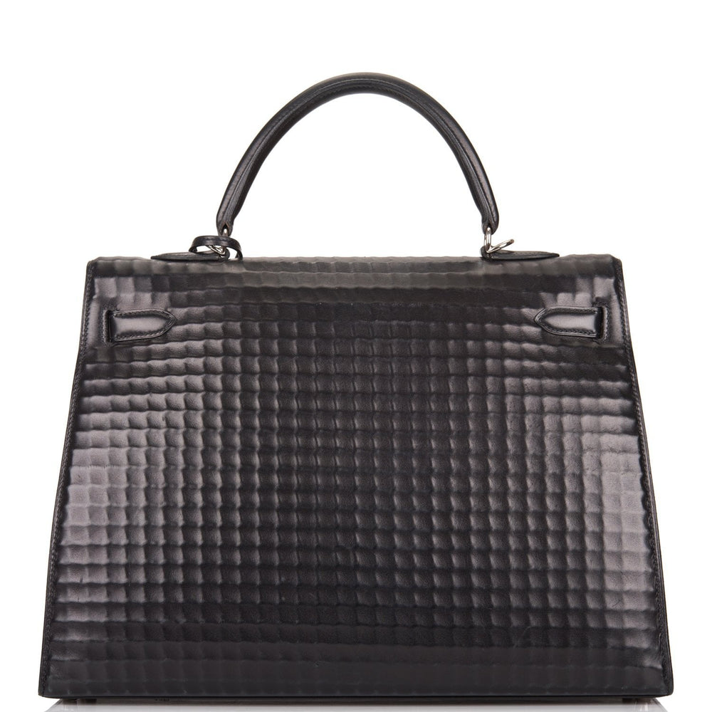Hermes Black Waffle Box Sellier Kelly 35cm Palladium Hardware (Preloved - Excellent)