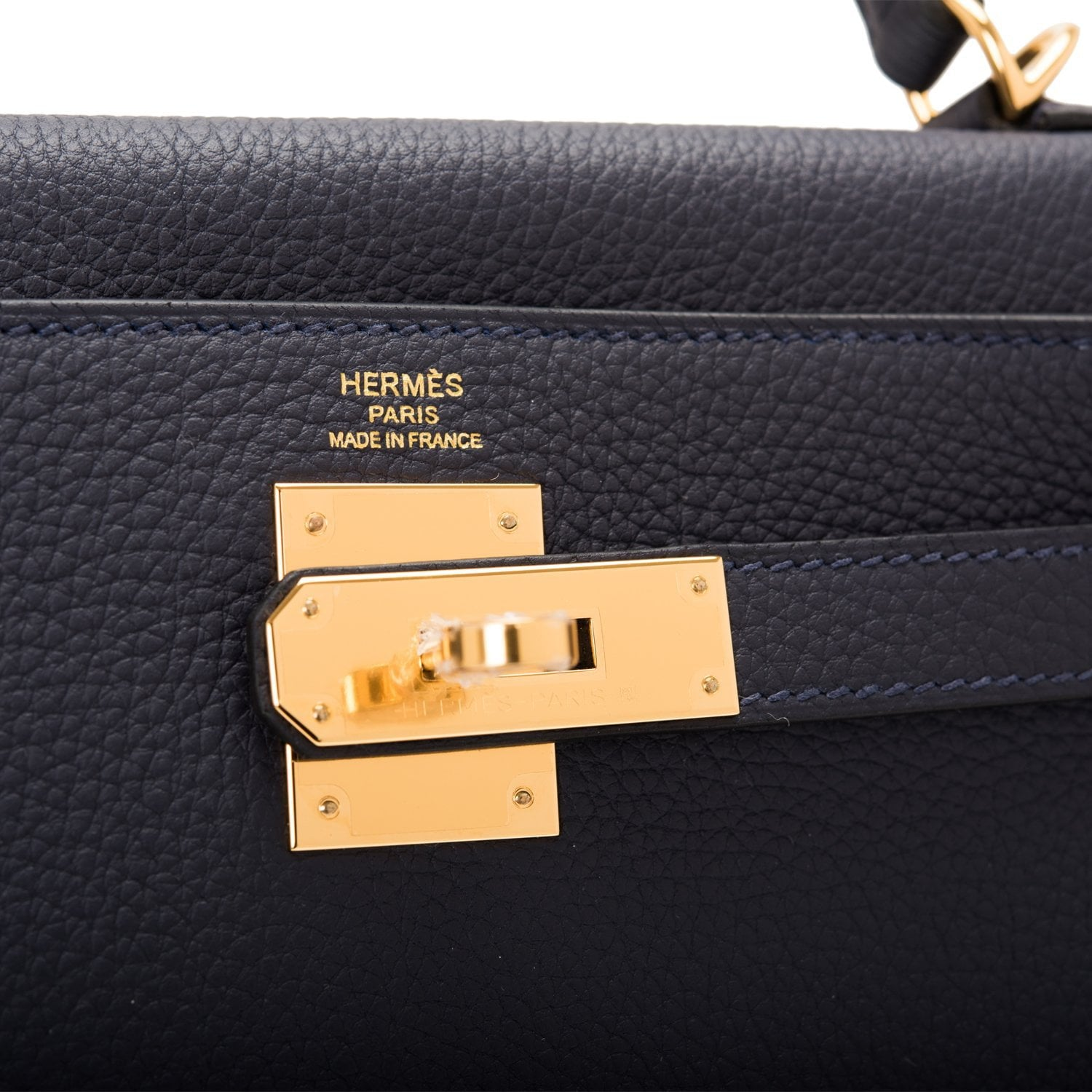 Hermes Blue Nuit Togo Kelly 28cm Gold Hardware