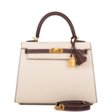 Hermes Horseshoe Stamp (HSS) Bi-Color Craie and Bordeaux Epsom Sellier Kelly 25cm Brushed Gold Hardware