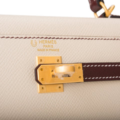 Hermes HSS Bi-Color Craie and Bordeaux Epsom Sellier Kelly 25cm Brushed Gold Hardware