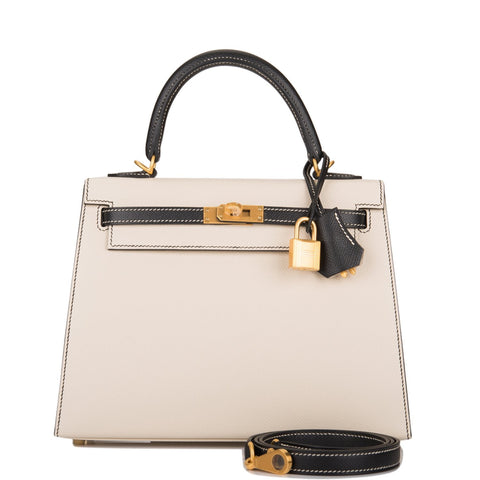 Hermes Horseshoe Stamp (HSS) Bi-Color Rose Azalee and Rouge Casaque Epsom Sellier Kelly 25cm Gold Hardware