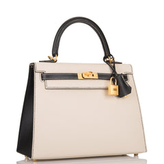 Hermes HSS Bi-Color Craie and Black Epsom Sellier Kelly 25cm Brushed Gold Hardware