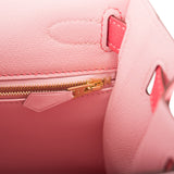 Hermes HSS Bi-Color Rose Sakura and Rose Lipstick Chevre Sellier Kelly 28cm Brushed Gold Hardware