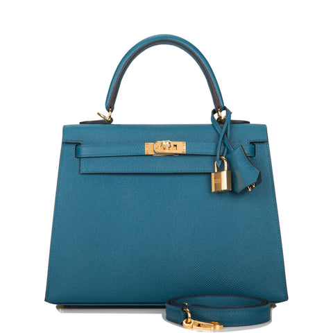 Hermes Vert Bosphore Epsom Sellier Kelly 25cm Gold Hardware